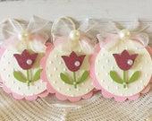 Spring Pink Glitter Paper Tulip Flower Embellishment Tags Set of 3