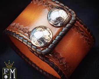 """Leather cuff Bracelet 2"""" Brown sunburst Vintage style laced, hand tooled, Buffalo nickels - Quality Made for YOU in NYC by Freddie Matara"""