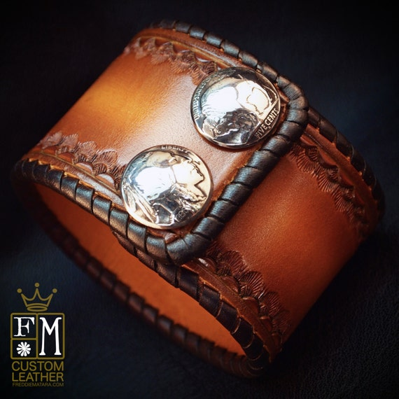 "Leather cuff Bracelet 2"" Brown sunburst Vintage style laced, hand tooled, Buffalo nickels - Quality Made for YOU in NYC by Freddie Matara"