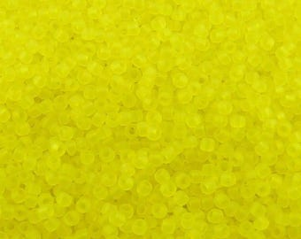 TOHO 11/0 Round Seed Beads - Transparent Frosted Lemon Yellow - 20 gram Bag - Vibrant Sunny Sun Day Glow - Color Code 12F - Jar 108