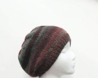 Knit beanie beret, handmade, colorful     4955