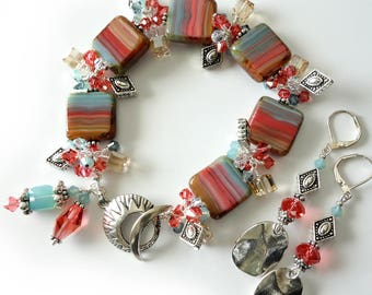 Southwestern Bracelet and Earrings, Turquoise, Coral, Sand, Silver Beaded Jewelry, Western, Two Piece Set, Beaded Bracelet, Gift for Her
