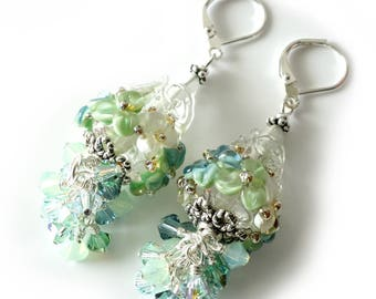Floral Lampwork Earrings, Lampwork Cones, Pale Green, Aqua, Light Green, Silver Beaded Earrings, Swarovski Crystal Cluster, Beaded Jewelry
