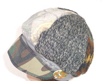 Upcycled Hat - Recycled Hat - Jax Hats - Camo Hat - Brown Adult Hat - Womens Brown Hat - Womans Brown Cap - Newsboy Hat - Brown Flapper Hat