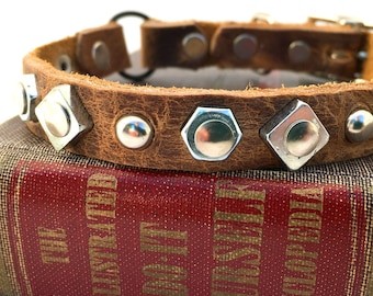 Rustic Brown Leather Cat Collar with Industrial Geometric Shapes to fit a 8-10in Neck, EcoFriendly Leather, , OOAK