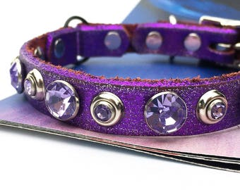 Royal Purple Glitter Leather Cat Collar with Purple Rhinestones, Size to fit a 8-10in Neck, Eco-Friendly Leather, Seattle Handmade, OOAK