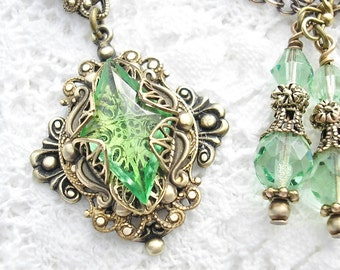 Promise of Spring - Peridot Green Vintage Glass Jewel Pendant - Antiqued Brass Victorian Style Pendant