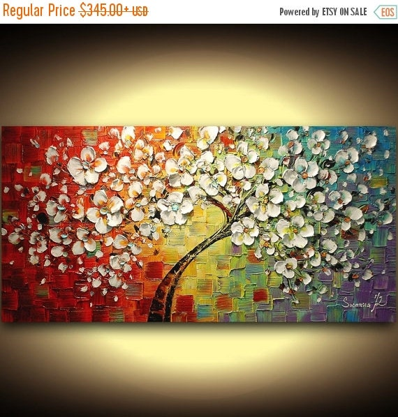 """ORIGINAL """"love tree"""" fine art painting, unique wedding gift custom piece for couples, engagements and anniversaries palette knife artwork"""