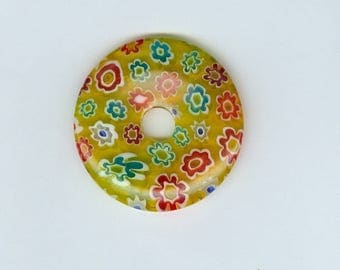 40mm Millefiori Pendant 40mm Yellow Red Aqua Millefiori Glass Pi Donut Focal Pendant Red Flower Bead