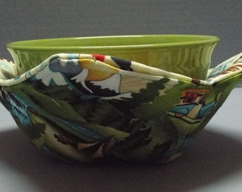 Microwave Bowl Cozy or Potholder Camping Trip Fabric
