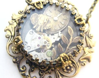 Elephant  Under Glass,  steampunk necklace, steampunk  elephant, steampunk shadow box creation Victorian One of a Kind