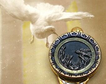 Flight, Antique BUTTON bookmark, Victorian bird on gold. Unique present, gift.