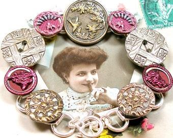 "Parisian BIRD BUTTON bracelet, Victorian birds & flowers, 7"". Antique button jewellery. Present gift."