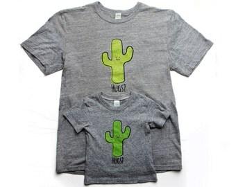 Cactus Hug T-Shirt Adult/Baby Set- Organic Triblend