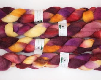 Handpainted Bluefaced Leicester Wool Roving in Cirque by Blarney Yarn