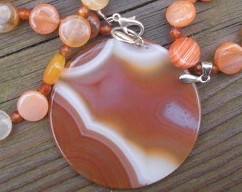 MOTHERS DAY SALE Red Agate and Carnelian designer necklace Unique One of the kind Ooak