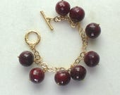 Chunky RUBY Pinned Bauble Cluster Bracelet in Gold Vermeil....