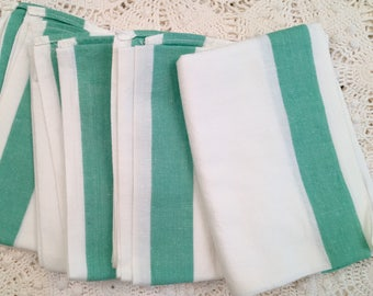 Vintage Kitchen Towels - Green Stripes on Natural - Martex - New Old Stock- Unused - Kitchen Drying Towel