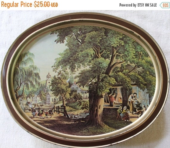 HOLIDAY SALE - Vintage Biscuit Tin - Currier & Ives Lithographs - Limited Edition - Sunshine Bisquits - Large Remote