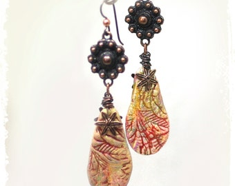 Polymer clay floral earrings, Boho tribal drop earrings, Modern tribal earrings, Gypsy clay and copper earrings, Urban tribal earrings,