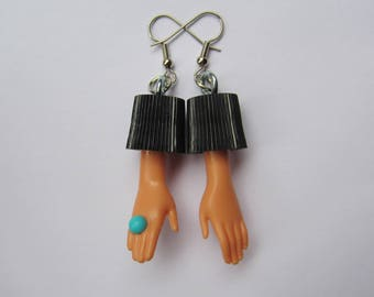 Blue Ring - Upcycled Barbie Hand Bottle Cap Earrings