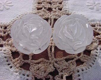 Frosted Crystalline Roses Vintage Lucite Focal Beads
