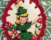 Crochet Ornament / Gift Tag / Card - Crocheted Tree Girl