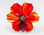 Fused Glass Night Light (Red Poppie)