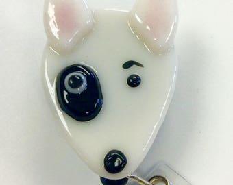 Bull Terrier Retractable Badge Holder Fused Glass