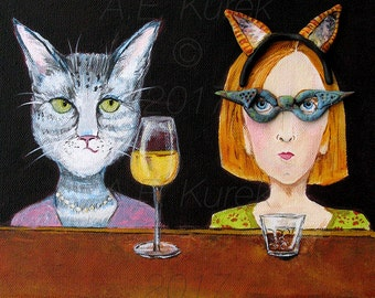 Cat Lady at the Cat Bar 8 x 10 Art Print - Funny Cat Art - Cat with Wine - Cat Gift Idea - Gift for Cat Lover - Cat with Wine Illustration