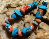 lampwork beads/glass beads/artisan lampwork/sra lampwork/beads/turquoise/orange/Pueblo/Southwestern/organic/