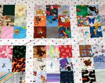 quilt top, I spy, up-cycled, 41 by 52 inches, patchwork, handmade, cotton, boy, girl, 108 images, boy, girl, eye spy, toddler, bedding