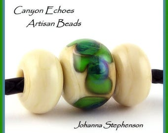 BIG HOLE Green and Blue Lampwork Bead Set by Canyon Echoes