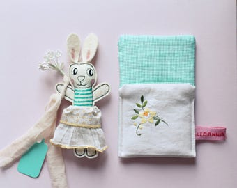 Easter bunny stuffed felt animal in her sleeping bag (The price is for one bunny!)