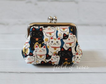 Small Frame Coin Purse Kawaii Manekineko Cat Blue Rosary Case Earbud Case Earbud Holder Clasp Change Purse