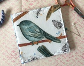 Chickadee Needlebook Watercolor Bird Fabric Pin Keep