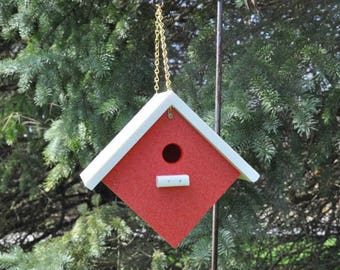 New Poly Vinyl Bird House Red with Black or White Roof Weather Resistant