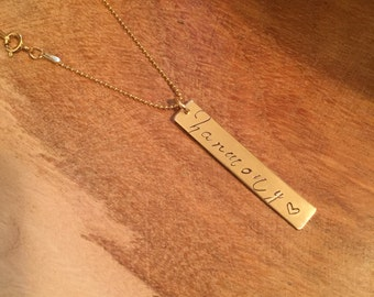 Personalized Large Vertical Bar Necklace - Gold