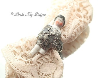 Frozen Charlotte Doll Ring Silver Soldered Ring Little Frozen Charlotte Doll Statement Ring