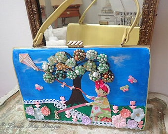 A Walk In The Park Handbag Hand Painted Up-Cycled Purse Vintage Jewelry  One-of-a-Kind Mixed Media Art Purse