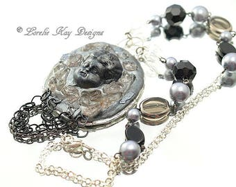 Gothic Frozen Charlotte Doll Necklace Sculpted Crystals Black And Silver Statement Necklace One-of-a-Kind Assemblage Pendant