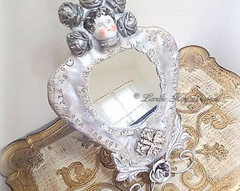 As Fair As A Rose Mirror on Stand Original Doll Face Mirror Mixed Media Vanity Mirror Lorelie Kay Designs Original