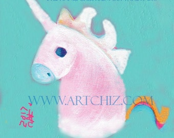 Seafoam Baby Unicorn Art. Illustration. Seafoam Nursery. Baby Shower Gift.  Unicorn Baby Shower.  - Seafoam Rainbow Baby