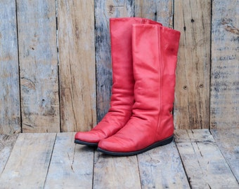 1980s, Red Leather Boots, Us 6 1/2 6.5, UK 4.5, Eu 37, Leather Slouch Boots, Red Riding Boots, Cos Play, Leather Boots, Red Slouch Boots