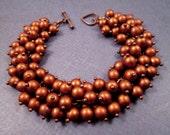 Copper Cha Cha Bracelet, Coppery Matte Glass Beaded, Wire Wrapped Charm Bracelet, FREE Shipping U.S.