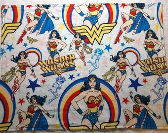 Wonder Woman Flannel  Cat Napping Blanket with matching Organic Cat Nip Pouch