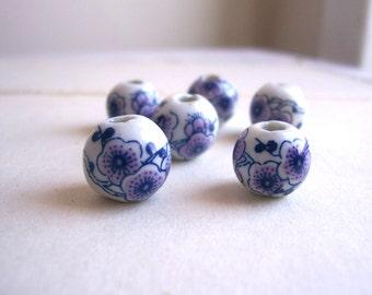 Blue Blossom Ceramic Globe Beads - blue and purple flowers on white globe - folk style - 6 beads - 10mm - SALE