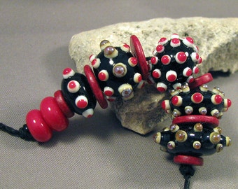 Handmade Lampwork Beads by Monaslampwork - Red and Black - Lampwork Glass Beads by Mona Sullivan Xmas Artisan Beads Boho Tribal Organic