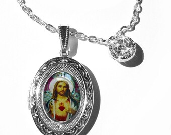 Jesus Christ, original art locket, personalized lockets...religious pendants,lockets, jewelry,personalize the interior,christian jewelry