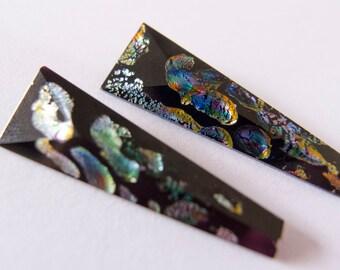 Antique Vintage Czech 1910s Faceted Black Faux Australian Opal Foiled Drops Pendant Beads - 30mm - Pair